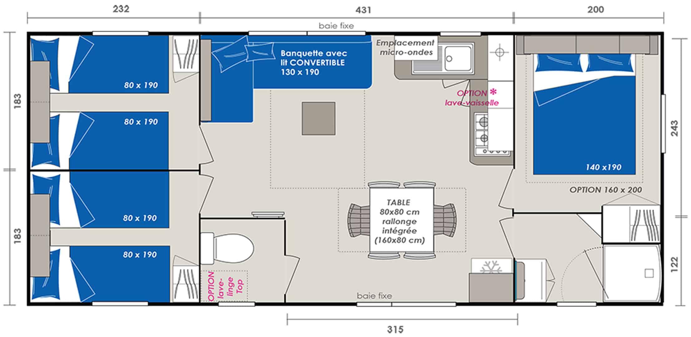 Location Mobilhome 3ch 6/8 personnes : Plan du mobilhome