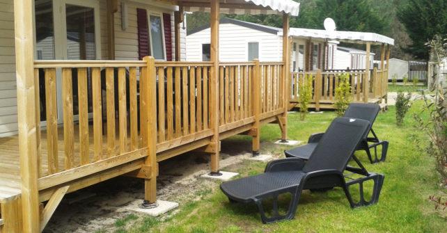 Location Mobilhome 3ch 6/8 personnes : Terrasse et bains de soleil